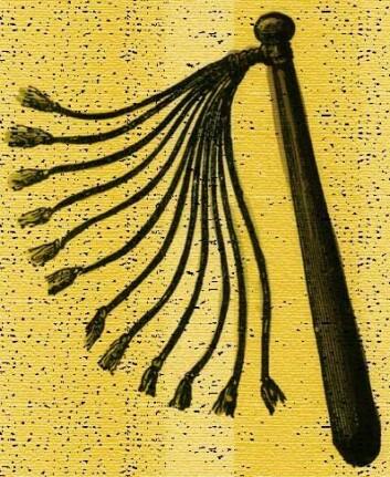 Romersk pisk med lærsnorer - velegnet for bruk på slaver og hustruer.