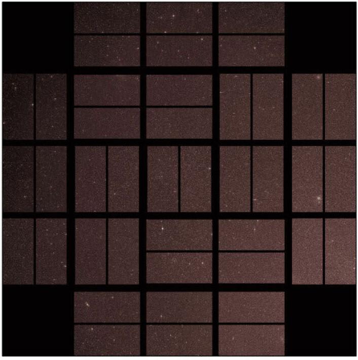 Dette bildet viser Kepler-teleskopets fulle synsfelt. Himmelfliken inneholder rundt 4,5 millioner stjerner. Bildet eroppdelt fordi strukturene som holder kameret sammen danner et rutenett som blokkerer ut lys. Teleskopet er orientert slik at rutenettet blokkerer ut lyset fra de lyseste stjernene. Nasa har blidet tilgjengelig i høy oppløsning: klikk her. (Foto: NASA/Ames/JPL-Caltech)