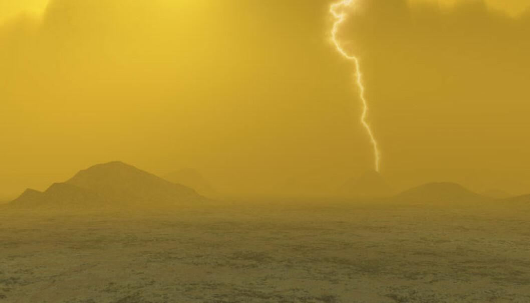 Kunstnerens oppfatning av overflaten til Venus, basert på vitenskapelige data. (Illustrasjon: J. Whatmore/ESA)