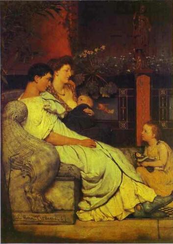 Romersk familieidyll, sterkt idealisert av maleren Lawrence Alma Tadema.