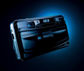 """Fuji FinePix Real 3D W1 er foreløig det eneste konsumentkameraet for 3D stillbilder og video. (Foto: Fuji, pressebilde)"