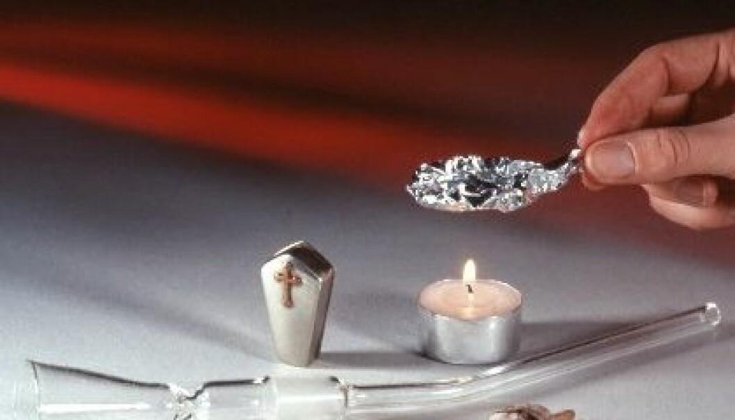 Brukerutstyr for røyking av heroin. (Foto: SIRUS/Nye bilder)