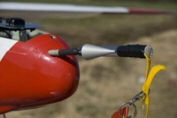 Det ubemannede flyet er utstyrt med partikkelmåler. (Foto: Trond Abrahamsen, Andøya Rakettskytefelt)