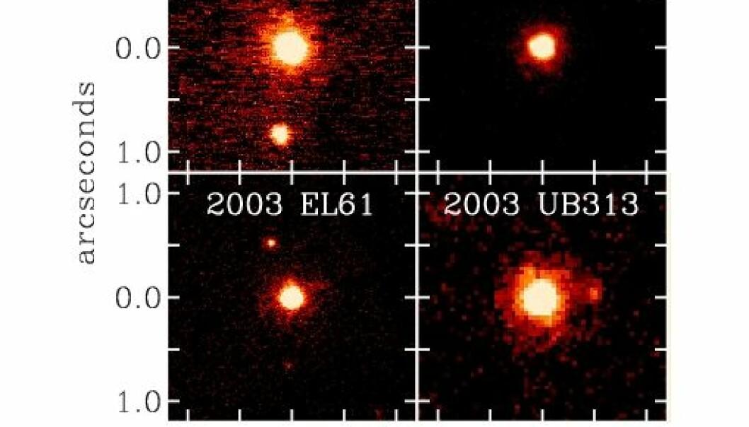 """""""Her ser du de fire største Kuiperbelteobjektene vi har funnet så langt. Tre av dem har måne."""""""