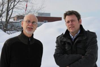 Oddvar Lindholm (til venstre) og Thomas K. Thiis har forskjellig nytte av klimamodeller. (Foto: UMB)