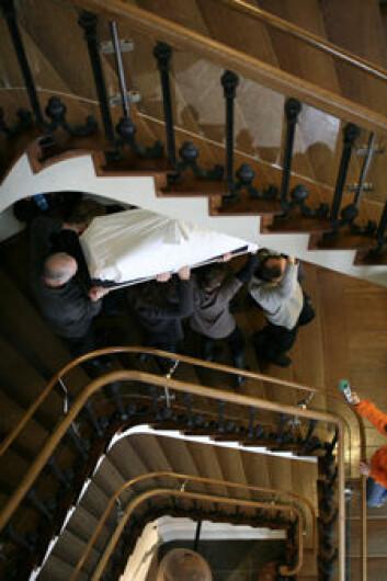 Steg 3: De 80 kilo tunge - og uerstattelige - mumiene måtte bæres ned fire etasjer. Heisen var nemlig lite mumievennlig.
