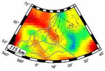 Bildet viser en hastighetsanomali som kan følges fra Nord-Atlanteren til under fjellene av Sør-Norge i 115 km dybde. Resultatet ble publisert i Geophysical Journal International (Weidle & Maupin, 2008).