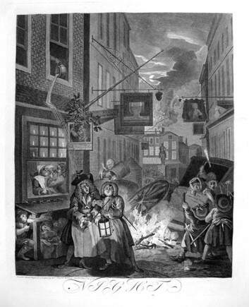 """Europeiske byer var trange, urenslige og herjet av sykdommer. I den britiske kunstneren William Hogarths """"Night (Four Times of The Day)"""" fra 1738 får nattevandrere i London innholdet i en nattpotte i hodet. (Foto: Wikimedia Commons)"""