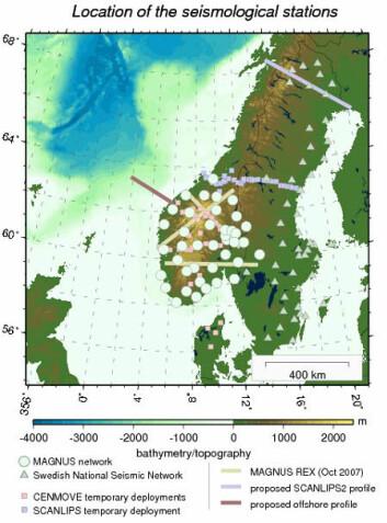 Figuren viser samtlige seismiske eksperimenter som blir knyttet sammen i TopoScandiaDeep. En offshoreprofil ble innsamlet i mai. I august-september blir MT-data målt i et profil fra Haugesund til Drammen. (Figur fra TopoScandiaDeeps nettside)