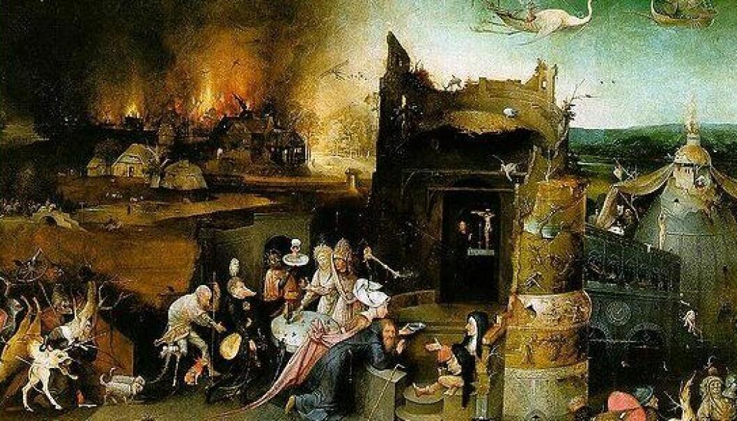"""Krig, pest og død var en del av middelalderens Europa. I Hieronymus Bosch' altertavle """"Den hellige Antonios fristelser"""" utgjør brennende byer en del av bakgrunnen. Utsnitt av midtre del. Bildet henger i Museu Nacional de Arte Antiga i Lisboa, Portugal. (Foto: Wikimedia Commons, se hele maleriet her)"""