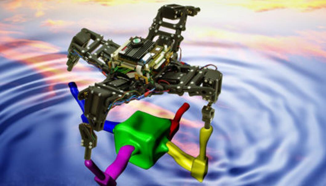"""""""Ved hjelp av interne simuleringer i datahjernen, oppdaterer roboten kontinuerlig en modell av sin egen kropp. Dersom en skade på et bein inntreffer, vil modellen se annerledes ut, og roboten endrer gangen sin."""""""