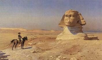 Napoleon var ein stor beundrar av den tidlege, egyptiske sivilisasjonen. Her er han framfor Sfinxen, malt av Jean-Léon Gérôme.