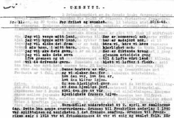 """""""Det var en enkel standard på de illegale avisene. Faksimile av Ukenytt nummer 11, 1942"""""""