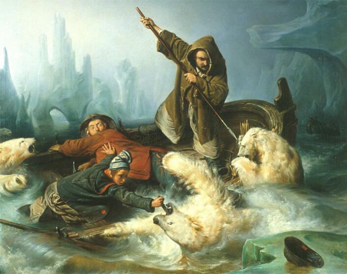 Blir isbjørnbestanden større, slik fangstfolkene opplever? (Maleri: François Auguste Biard)