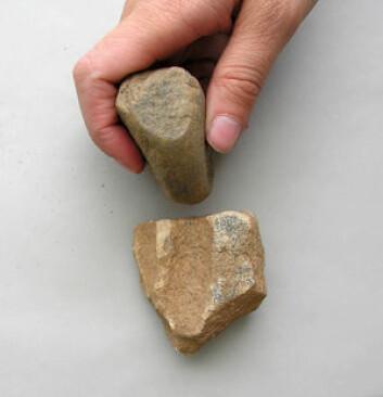 """""""På bunnen av utgravningen fant Sheila Coulson det verktøyet som ble brukt til å hogge ut en av de mange utgropingene på pytonslangen. Foto: Sheila Coulson."""""""