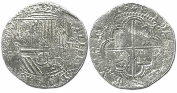 Sølvmynt fra Potosí i Peru, preget på 1500-tallet under Filip 2. (Foto: Daniel Frank Sedwick, LLC)