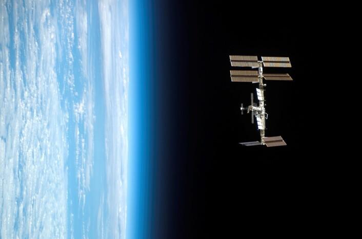 Med jordas horisont og det mørke verdensrommet i bakgrunnen, viser bildet den internasjonale romstasjonen sett fra romferga Endeavour. Bildet ble tatt 24. mars 2008. (Foto: NASA)