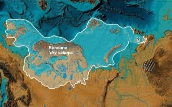 """Rondane """"dry valleys"""" ligg midt i det skandinaviske isdekket når det hadde si største utbreiing på slutten av siste istid for om lag 20 000 år sidan. (Illustrasjon frå Svendsen et al. 2004)"""