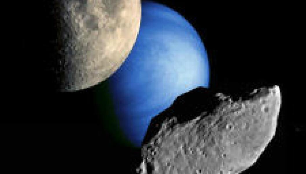 Månen, planeten Venus og en asteroide. Bildemontasje: NASA
