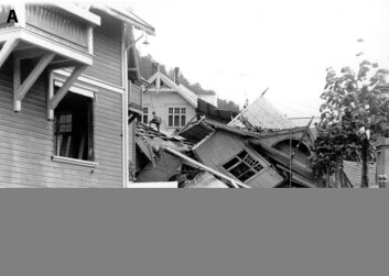 """""""Flere hus ble knust og seks mennesker mistet livet i et jordskred på Rjukan i 1927. Kartet over bildet viser et lite utsnitt av de omfattende faresonekartene som nå er utarbeidet for Vestfjorddalen."""""""