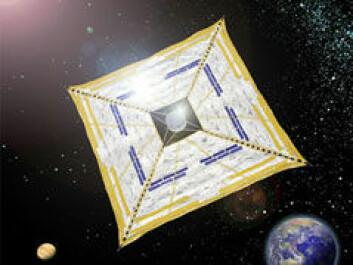 Den japanske IKAROS-ferden er første vellykkede bruk av romseil. (Illustrasjon: JAXA)