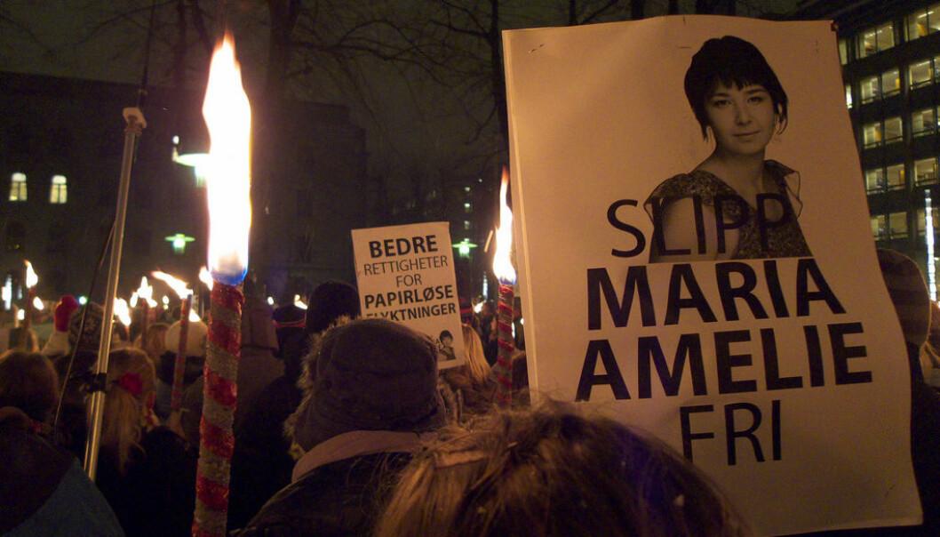 Fra demonstrasjon i forbindelse med saken til Maria Amelie (Foto: Rødt Nytt/Flickr Creative Commons)