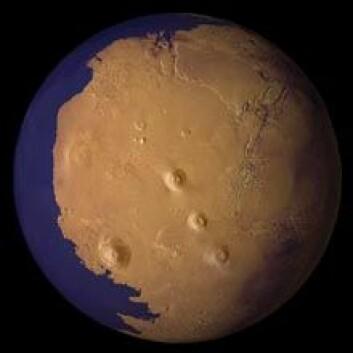 """""""For rundt 2 milliarder år siden var kanskje så mye som en tredjedel av Mars dekket av hav. (Illustrasjon: NASA)"""""""