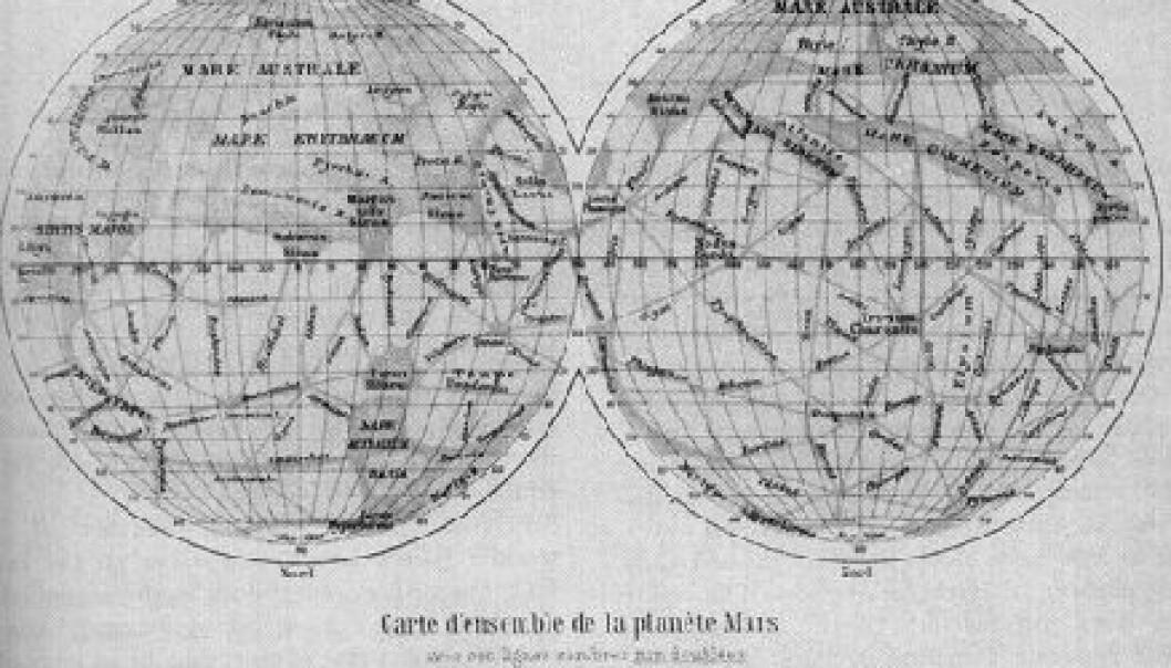 """""""Shiaparellis kart over Mars fra 1888."""""""
