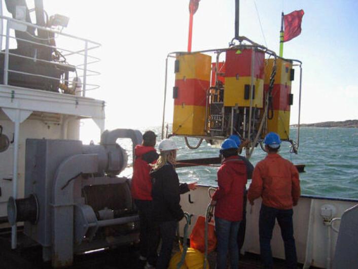 Det haster med nye måleteknikker for karbonopptak i havet, mener klimaforsker. Norsk teknologi kan gjøre kontinuerlig måling av CO2 i havet mer pålitelig. Bilde fra utprøving i Østersjøen av CO2-sensorer for utplassering på havbunnen. (Foto: MIMT)