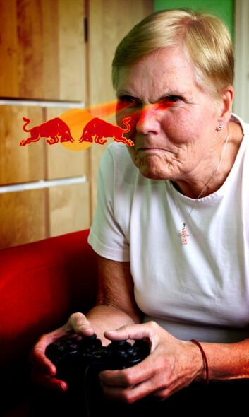 Aggresjon og fart. Dataspillere som kjører i en bil med Red Bull-logo på, kjører mer aggressivt enn hvis bilen har en vanlig farge. (Illustrasjon: Colourbox / Per Byhring)