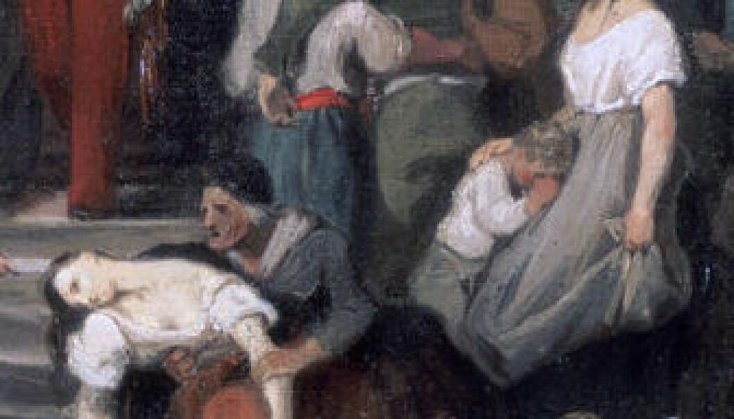 Duke of Orleans besøker de syke ved l'Hotel-Dieu i Frankrike under koleraepidemien i 1832. Malt av Alfred Johannot. (Foto: Clipart)
