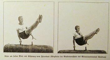 Mann og kvinne i samme positur i bøylehest. Konkurranseidretten var ikke kjønnsdelt før på 1920- og 1930-tallet.