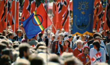 """""""Det samiske flagget vaier under 17. mai-feiringen i Oslo."""""""