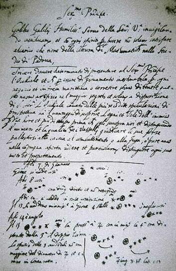 """""""Side fra notatene til Galilei fra observasjonenen avJupiters måner. (Foto: Wikimedia Commons)"""""""