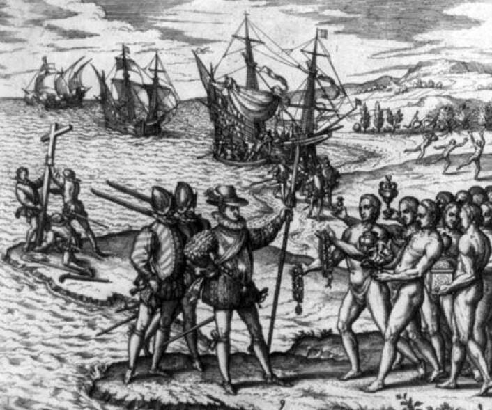 Christofer Columbus og hans menn går i land på øya Hispaniola og møter de opprinnelige innbyggerne, antagelig Arawak-indianere. Noen lærde mente at indianerne var etterkommere av spanjoler som en gang hadde forlatt Europa og blitt påvirket av et nytt klima og annerledes kosthold. (Foto: Wikipedia Commons)