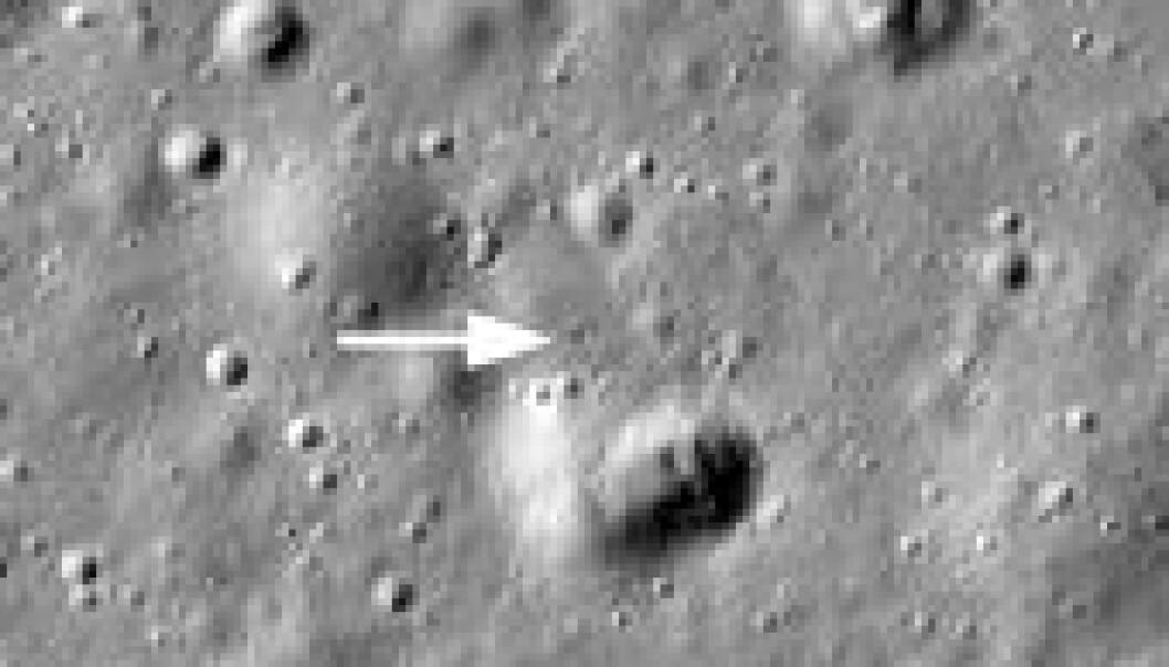 Den sovjetiske månefarkosten Lunokhod 1 er funnet igjen 40 år etter at den sendte sitt siste signal. (Foto: NASA/GSFC/Arizona State University)