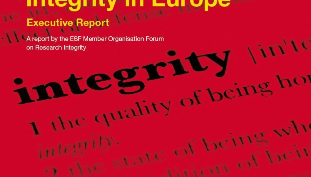 European Code of Conduct for Research Integrity er presentert i ESF-rapporten Fostering Research Integrity in Europe – Executive Report. (Cover: ESF)