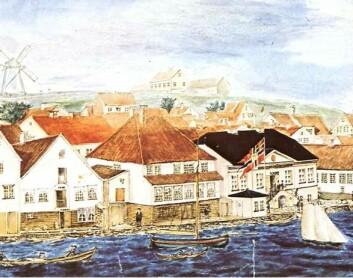 """Utsnitt av akvarell """"Stranden sett fra Skagen 1857"""" av M.G. Monsen. (Bilde fra Stavanger museum)"""