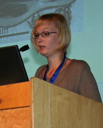 """""""Karen Van Hoecke ved Ghent University i Belgia har sett på hvordan ceriumdioksid påvirker grønnalger. (Foto: Bjørnar Kjensli)"""""""