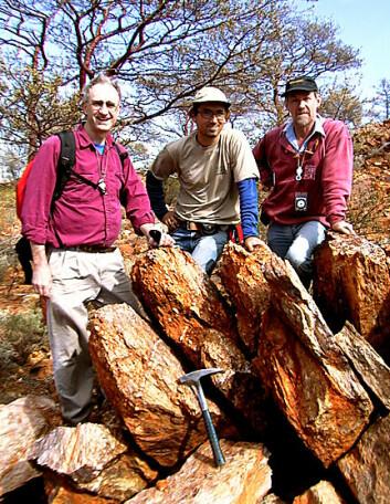 """""""John Valley, Aaron Cavosie og Simon Wilde i Jack Hills, hvor zirkonen ble funnet."""""""