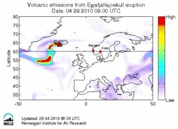 Oversikt over Europa. Status pr. 29. april kl. 09.00. Simulert ved hjelp av Flexpartmodellen ved NILU - Norsk institutt for luftforskning.