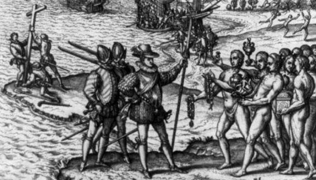Christofer Columbus og hans menn går i land på øya Hispaniola og møter de opprinnelige innbyggerne, antagelig Arawak-indianere. Noen lærde mente at indianerne var etterkommere av spanjoler som en gang hadde forlatt Europa og blitt påvirket av et nytt klima og annerledes kosthold. (Foto: Wikimedia Commons)