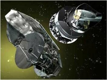 Herschel (t.v.) og Planck blir de dyreste og to av de viktigste satellittene Europa noen gang har skutt opp. (Illustrasjon: ESA)
