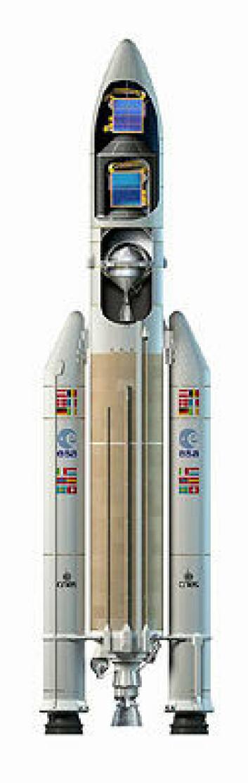 """""""Ariane 5-ECA er opp til 56 meter høy, og dermed bare såvidt høyere enn en vanlig Ariane 5 som kan være opp til 52 meter høy. Ariane 5-ECA har likevel en nyttelast som er nesten dobbelt så stor. Diameteren er opp til 5,4 meter, og startvekten opp til 780 tonn. (Foto: ESA)"""""""