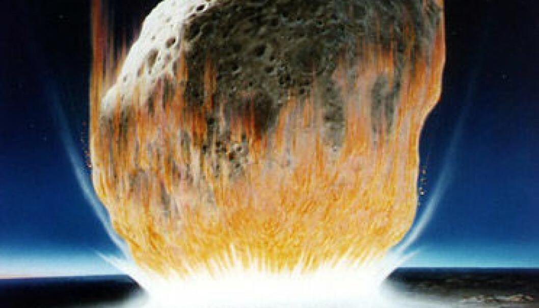 Kanskje var asteroiden som drepte dinosaurene mer enn 10 kilometer stor. (Illustrasjon: NASA)