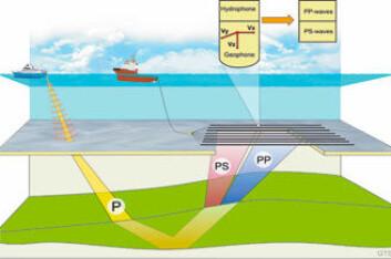 KJEMPEEKKOLODD: Seismikkfartøyene bruker luftkanoner som slepes som en vifte flere tusen meter bak fartøyet. Olje, gass og andre geologiske strukturer kartlegges. Illustrasjon av havbunnsseismikk: P = trykkbølger, S = skjærbølger. (Se www.statoilhydro.com for full forklaring av illustrasjon)