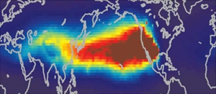 Spredning av ozon fra Asia til Nord-Amerika vist ved hjelp av modellverktøyet FLEXPART PDM.
