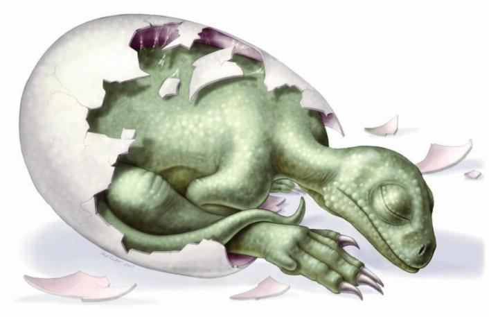"""""""En kunstner har illustrert en nyfødt massospondylus på denne måten. (Illustrasjon: Heidi Richter)"""""""
