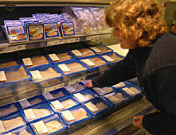 """""""Brettpakket fersk fisk er på full fart inn i butikkhyllene. Hege Linke fra Tromsdalen Fisk etterfyller hyllene på OBS i Tromsø."""""""