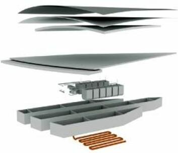 Husene bygges rett på vannet, og alle vann-, varme- og sanitæranlegg legges i rør nede på bunnen. Huset skal varmes opp med et vannsystem basert på jordvarme. Det er planer om å dekke taket med solcellepanel som ser ut som en plastfilm. Huset skal flyte på isopor. (Illustrasjon: Guy Design Group)